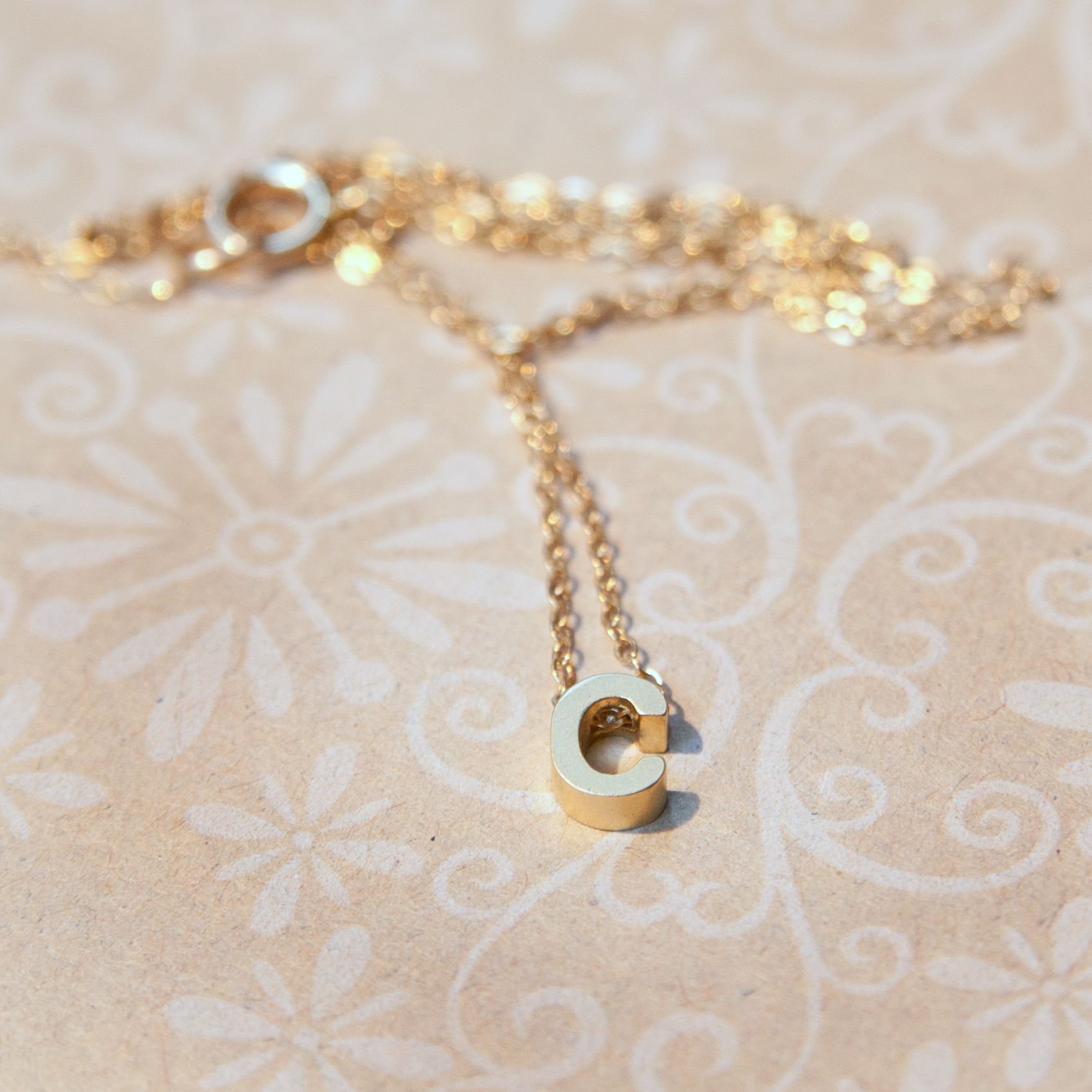 Tiny gold rose gold or silver letter necklace adorn 512 tiny gold rose gold or silver letter necklace aloadofball Images