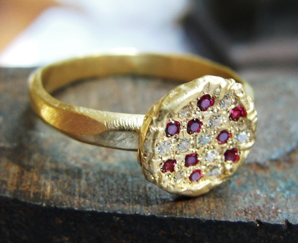 ENGAGEMENT GOLD DIAMOND RING - ALTERNATIVE GOLD RING - COCKTAIL RING-18K GOLD DIAMONDS AND RUBY