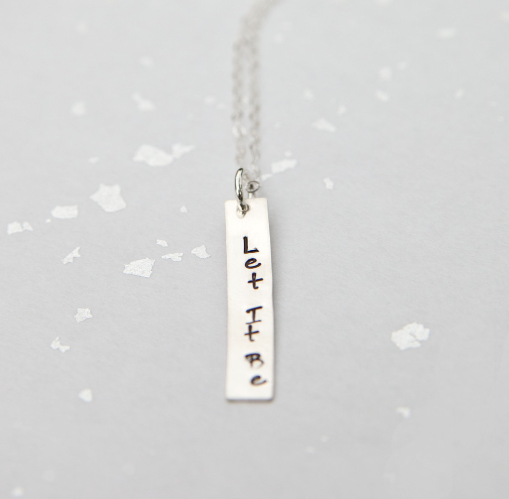 Hand Stamped Silver Tag Let It Be Mantra Necklace Adorn512