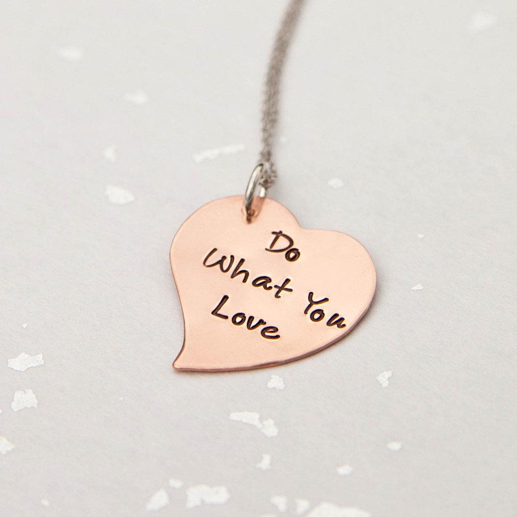 Do What You Love Rose Gold Mantra Necklace Adorn512